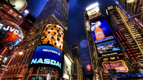 click to free download the wallpaper--Beautiful Sceneries of the World - NASDAQ Stock Market New York in Pixel of 1920x1080, the Center of Commerce, Favorite Place