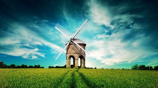 Beautiful Sceneries of the World - The Windwill Among the Green Grass, the Blue and Cloudy Sky