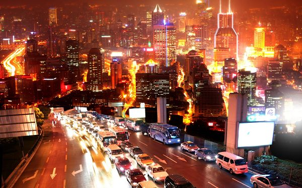 Beautiful Sceneries of the World - Urban Nights Post in Pixel of 1920x1200, Tall Buildings, Lights on, Typical Night Scene