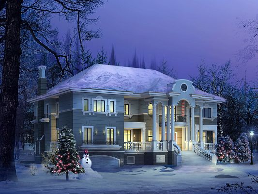 Beautiful Scenery of Architecture, Snow-Capped Roof, Warm Yellow Light, a Snowman by Christmas Trees' Side