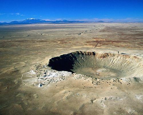 Beautiful Scenery of the World, Arizona Crater Among a Flat Road, the Blue Sky, It is Impressive Scene