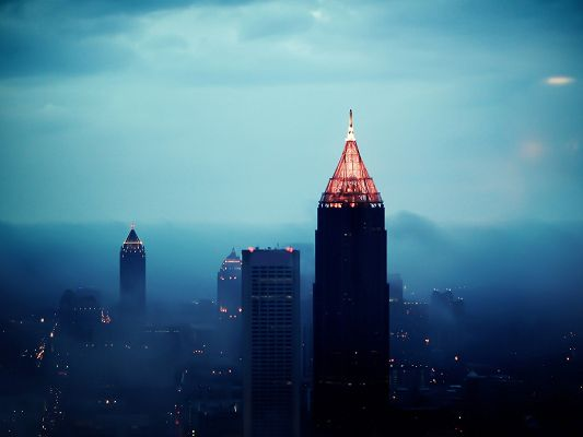 click to free download the wallpaper--Beautiful Scenery of the World, Atlanta Foggy Sunrise, Clouds Will Soon be Gone