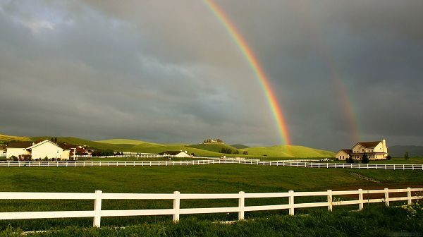 Beautiful Scenes of Nature - Green Scene, a Rainbow Shows Up, White Houses, Great to Live in