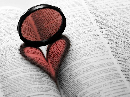 Beautiful Scenes of Nature, the Magnifier Making a Heart Shape on the Book, Good to Look at