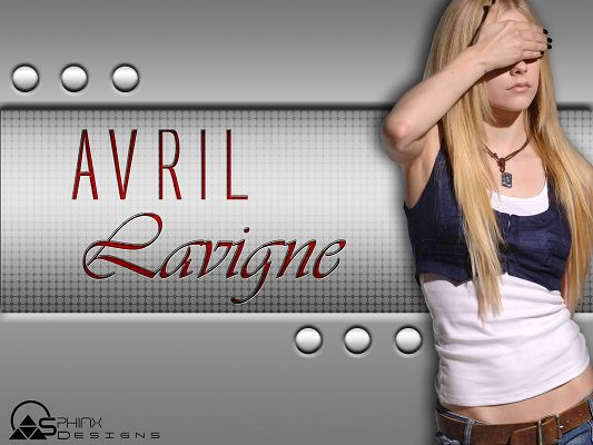 click to free download the wallpaper--Beautiful Singers Wallpaper, Avril Lavigne Has Her Face Covered, Casual Clothes, She is Nice-Looking