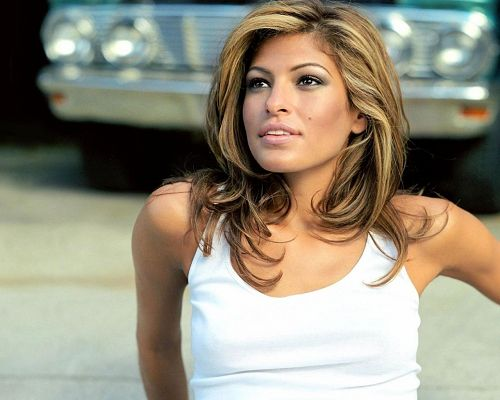 click to free download the wallpaper--Beautiful TV & Movies Post, Eva Mendes in White Tank Top, She Fills One with Hope