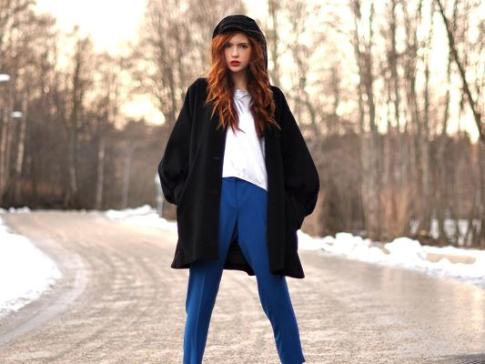 Beautiful TV Show Pics, Ebba Zingmark in Black Coat and Blue Pants, Standing in the Snow