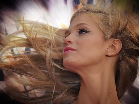 click to free download the wallpaper--Beautiful TV Shows Image, Erin Heatherton in Dancing Hair, Peaceful Facial Expression