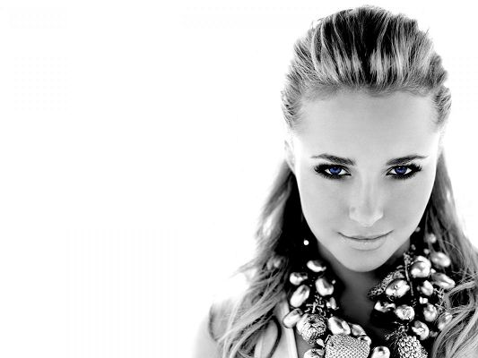 click to free download the wallpaper--Beautiful TV Shows Image, Hayden Panettiere Monochrome in Blue Eyes, White Background