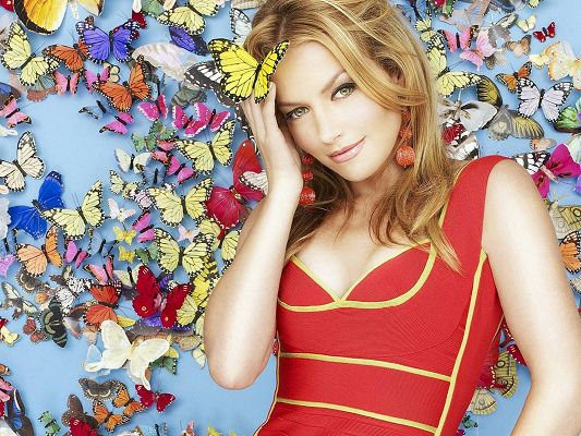 click to free download the wallpaper--Beautiful TV Shows Post, Becki Newton on Colorful Butterfly Background, Perfect Body Figure