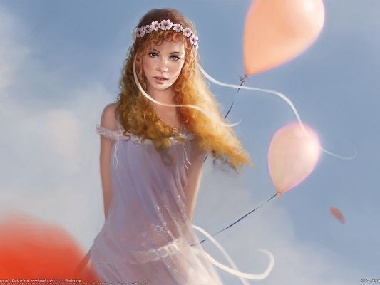 click to free download the wallpaper--Beautiful TV Shows Post, Fantasy Girl in Orange Balloons, Peaceful and Quiet