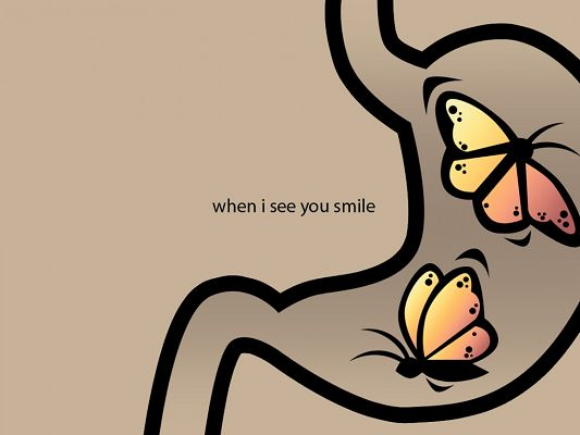 click to free download the wallpaper--Beautiful Wallpaper, Butterflies Are Happy When They See You Smile