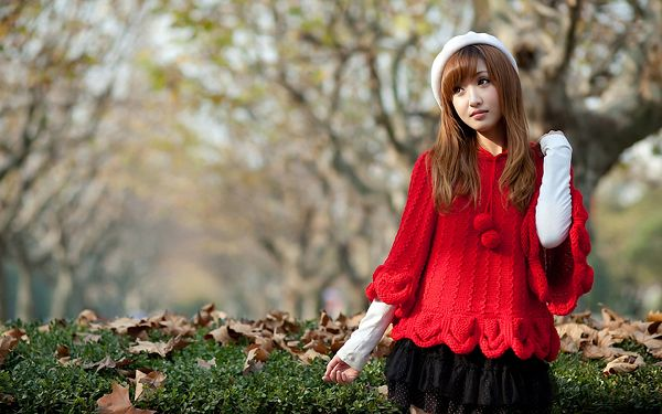 Beautiful and Pure Girl in Red Sweater and Black Skirt, Must be in Casual Mood, Looking Good Around the Scene - HD Attractive Women Wallpaper
