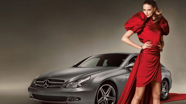Beauty in Red Dress, Cool Pose and Facial Expression, a Mercedes-Benz Car on Red Carpet, What a Fit! - Cars and Beauty Wallpaper
