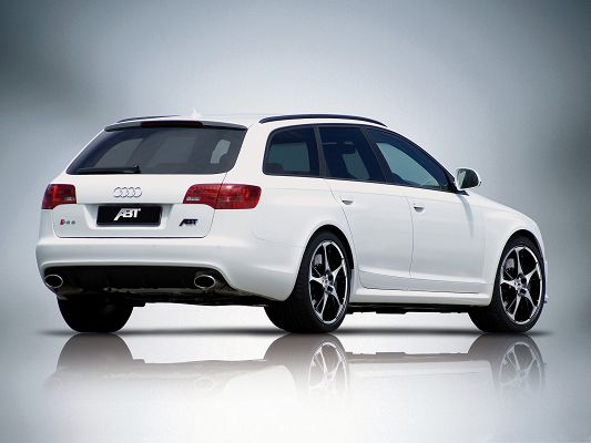 Best Cars Wallpaper, White Audi RS6 Avant Car with Clear Shadow, Dark Background