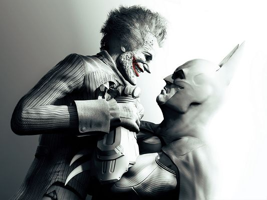 click to free download the wallpaper--Best Film Images, Batman Arkham City, Fighting with Jokerman