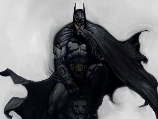 click to free download the wallpaper--Best Film Pictures, Batman Arkham City Artwork, Tough Man in Black Cloak
