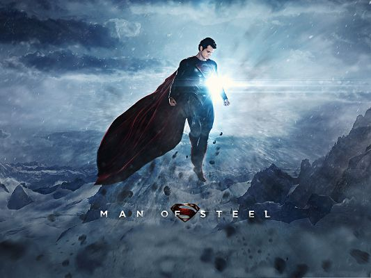 click to free download the wallpaper--Best Film Poster, Man Of Steel, Superman Embraced by Sunlight