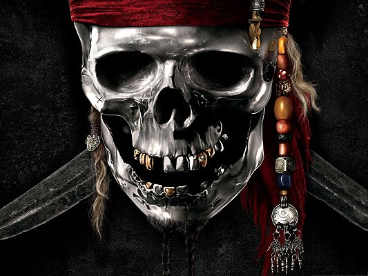 click to free download the wallpaper--Best Film Poster, Pirates Of The Caribbean, Smiling Skeleton, Are You Scared?