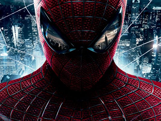 click to free download the wallpaper--Best Film Poster, The Amazing Spiderman, Tall and Bright Buildings