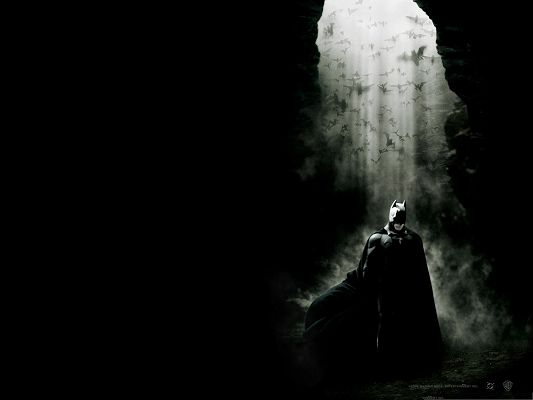 Best Film Posters, Batman Begins, Super Hero Walking in Dark Smoke, Flying Birds