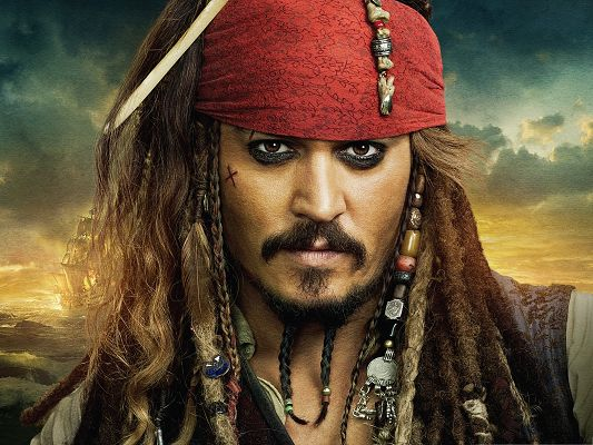 click to free download the wallpaper--Best Films Poster Background, Pirates Of The Caribbean, Johnny Depp in His Most Impressive Look