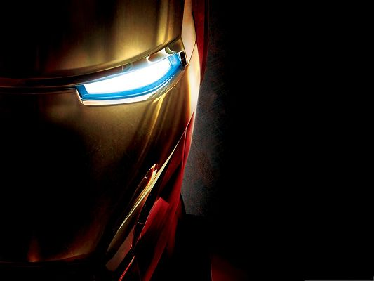 click to free download the wallpaper--Best Films Poster, Iron Man's Eye Close-Up, Bright and Impressive