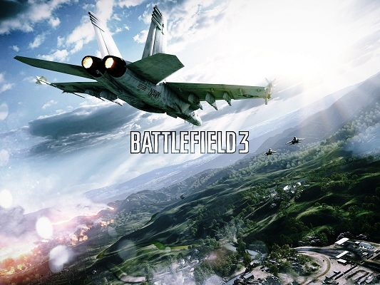 click to free download the wallpaper--Best Games Wallpaper, Battlefield Air Combat, Fly Among Great Nature Landscape