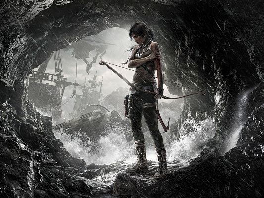 click to free download the wallpaper--Best Games Wallpaper, Lara Croft in Tomb Raider, Caught in Heavy Rain