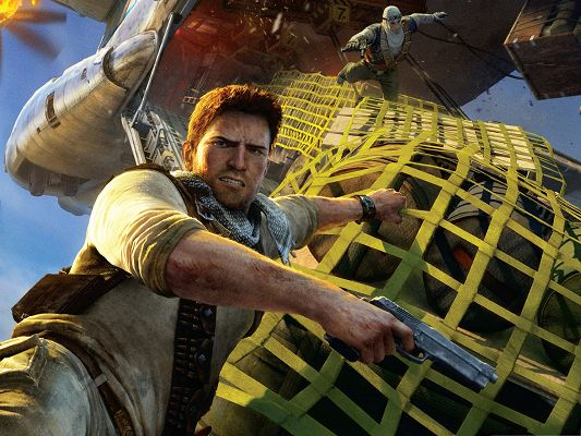 click to free download the wallpaper--Best Games Wallpaper, Uncharted Airplane, Things Hung on a Hair