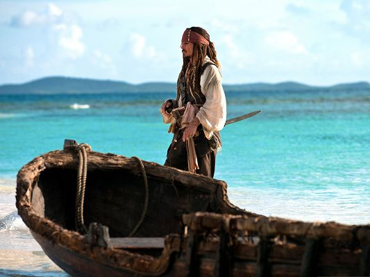 click to free download the wallpaper--Best Movie Poster, Pirates Of The Caribbean, Jack Sparrow by the Side of Clean Beach