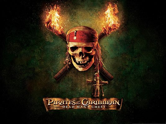 click to free download the wallpaper--Best Movies Picture, Pirates Of The Caribbean, Firing Wood and Smiling Skeleton