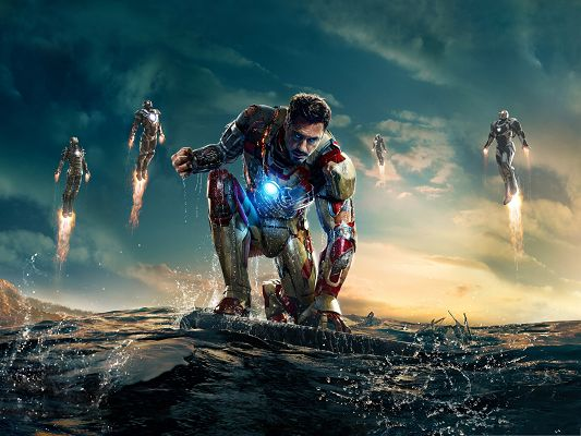 click to free download the wallpaper--Best Movies Post, Iron Man 3, Floating Over the Sea, a Hard Fight