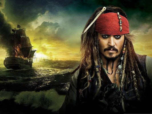 click to free download the wallpaper--Best Movies Post, Pirates Of The Caribbean, Johnny Depp in Determined Eyesight