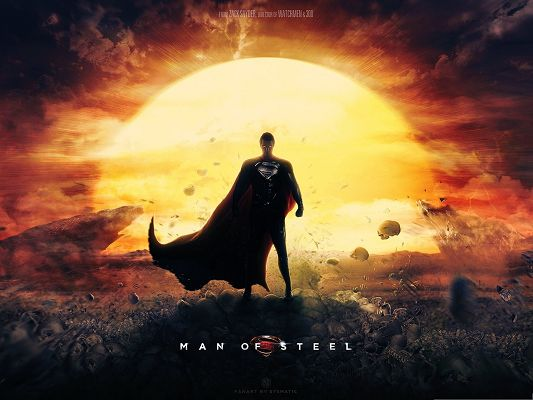 click to free download the wallpaper--Best Movies Wallpaper, Man Of Steel, the Golden Sun, Bright and Powerful