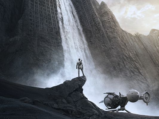 click to free download the wallpaper--Best Movies Wallpaper, Oblivion 2013, Standing by Waterfall