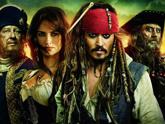 click to free download the wallpaper--Best Movies Wallpaper, Pirates of the Caribbean, Bad Man Falling in Love with Brave Girl