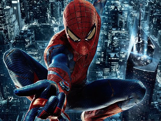 Best Movies Wallpaper, Spider Man Over the Tall and Bright City Building, His Homeland to Protect