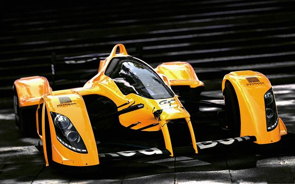 click to free download the wallpaper--Best Race Cars, Formula 1 Orange Car, Shinning and Glowing Effect