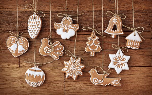 Biscuits in Design of Christmas Items, All Seem Delighted and Happy, Mood is Happy Enough - Creative Christmas Wallpaper