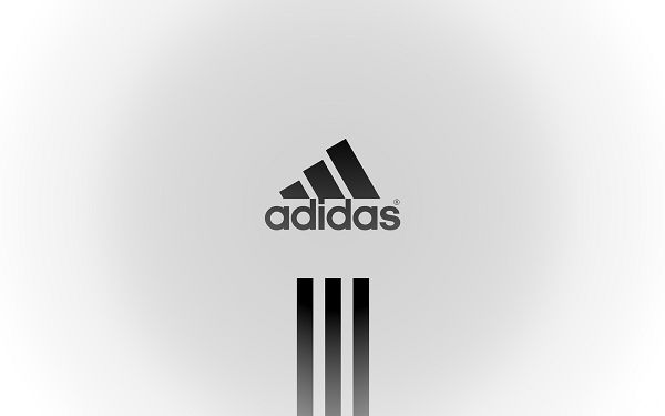 click to free download the wallpaper---Black Brand and White Background, Making a Black Circle, It is an Interesting Scene - HD Adidas Wallpaper