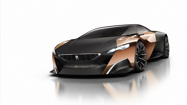 click to free download the wallpaper---Black Car in Slow and Steady Move, the Colors are a Great Combination, Looking Good and Impressive - PEUGEOT Conception Car Wallpaper