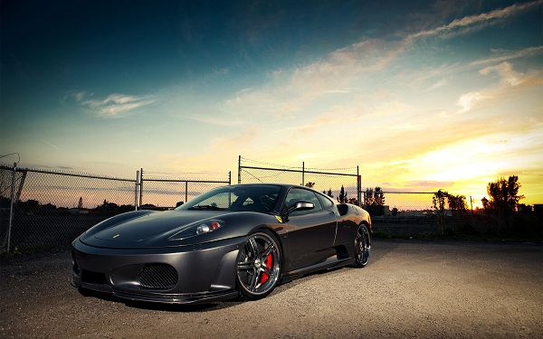 Black Ferrari Car on Stony Road, It is Bright, Shinning and Full of Metallic Sence, Want a Drive? - HD Cars Wallpaper