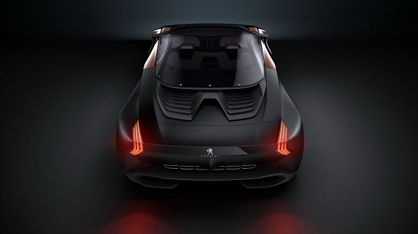 click to free download the wallpaper---Black PEUGEOT car in Stop, Lights Are on, When Will It Start Moving? The Speed Must be Incredible - PEUGEOT Conception Car Wallpaper