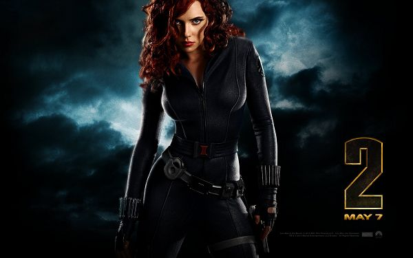 click to free download the wallpaper--Black Widow Post in Iron Man 2 in Pixel of 1920x1200, Black Suit and Her Facial Expressions Make the Lady Hot and Cool - TV & Movies Post