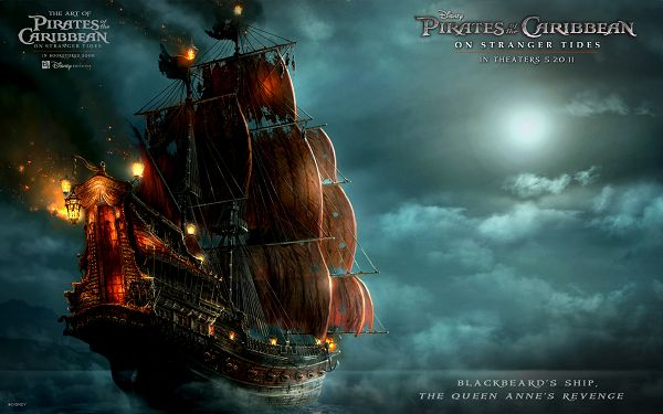 Blackbeard's Ship Post in Pirates Of The Caribbean 4 in 1920x1200 Pixel, the Majestic Ship on Fire - TV & Movies Post