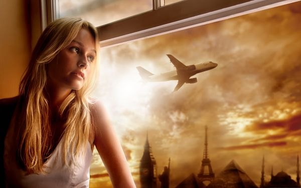 click to free download the wallpaper--Blonde Girl Photography, Beauty By the Window's Side, Want to be on Airplane?