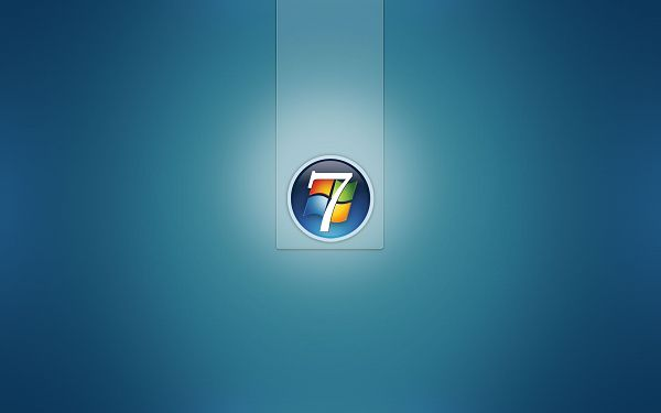 Blue and Clean Background, Win7 Symbol Just Came from Nowhere, It is Good-Looking Overall - Win7 Theme Wallpaper