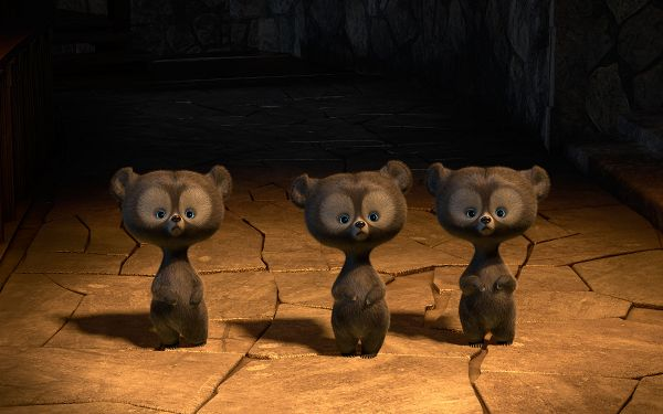click to free download the wallpaper--Brave Triplets Bears in High Quality and Pixel, Three Cute and Innocent Animals, Shall Gain Your Device Much Attention - TV & Movies Wallpaper