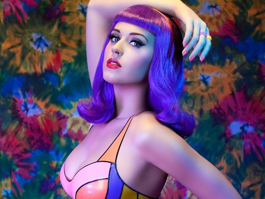 click to free download the wallpaper--Brightly-Colored Underwear and Blue Hair, Body Figure and Pose Can't be More Appealing, Quite Reminding of Bobby - HD Katy Perry Wallpaper